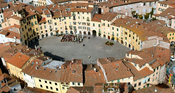 A top view of Lucca, wonderful city near Pisa, Tuscany