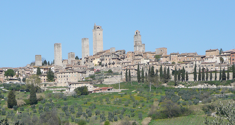Top view of the medieval town of San Gimignano, near Siena
